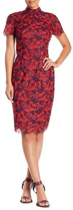 Trina Turk Flashy Floral Lace Mock Neck Dress