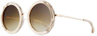 Alice + Olivia Beverly Round Swarovski Sunglasses, Nude