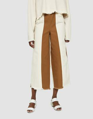 Ashley Rowe Sewn Stripe Mixed-Material Pant
