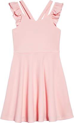 5d4ac01badd6 Zunie Ruffle Sleeve Skater Dress