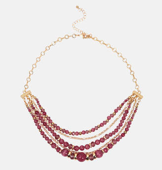 Avenue Pink and Gold Bead Layered Necklace