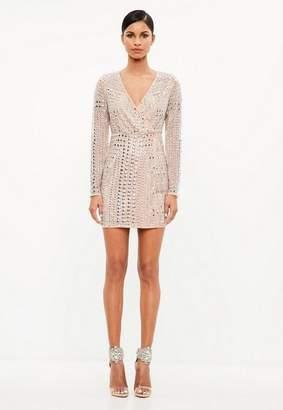 Missguided Premium Nude Stud Mini Dress