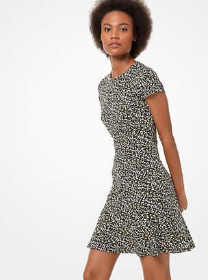Michael Kors Camouflage-Print Matte-Jersey Flounce Dress