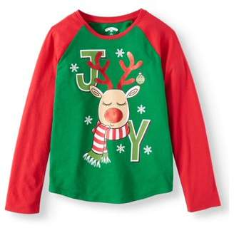 Christmas Long Sleeve Graphic Raglan Tee (Little Girls & Big Girls)