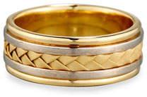Gents Eli Woven 18K White & Yellow Gold Wedding Band Ring, Size 9.5