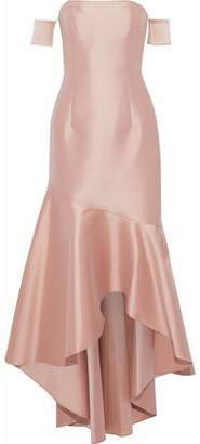 Sachin + Babi Off-The-Shoulder Fluted Satin Gown