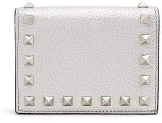 Valentino Rockstud Bi Fold Leather Wallet - Womens - Silver