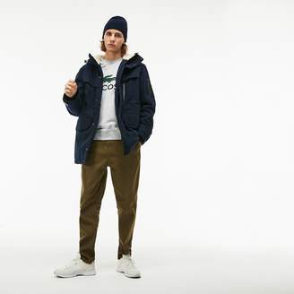 Lacoste Men's Hooded And Faux Fur Lined Quilted Twill Parka