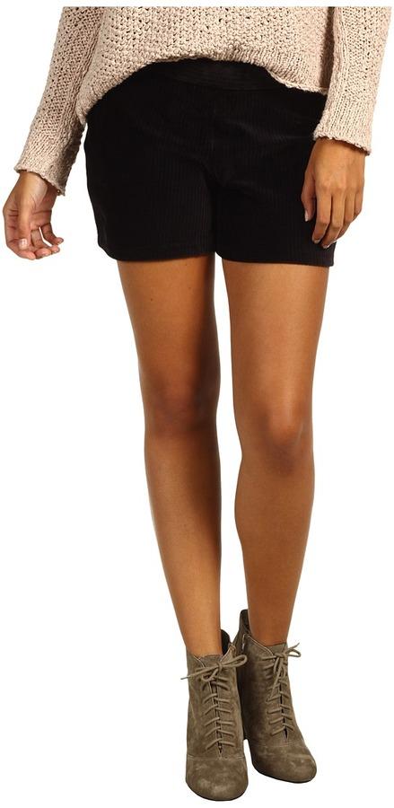 Hue Wide Wale Corduroy Shorts (Black) - Apparel