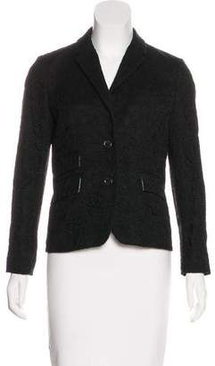 Black Fleece Lace Notch-Lapel Blazer