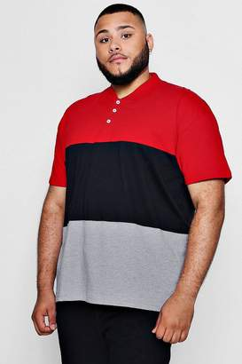 boohoo Big And Tall Colour Block Polo Shirt
