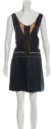 Isabel Marant Sleeveless Ruffle-Trimmed Satin Dress Black Sleeveless Ruffle-Trimmed Satin Dress