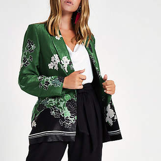 River Island Petite green floral blazer