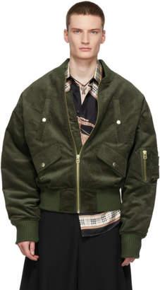 Landlord Green Corduroy Bomber Jacket