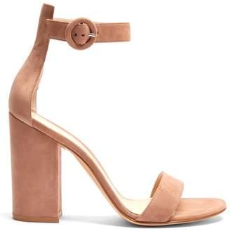 Gianvito Rossi Portofino 105 Block Heel Suede Sandals - Womens - Nude