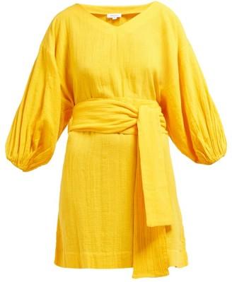 Rhode Resort Arya Tie Waist Cotton Dress - Womens - Yellow