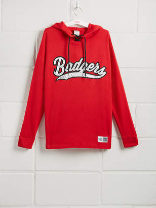 PINK University Of Wisconsin Rhinestone Bling Lace-Up Pullover
