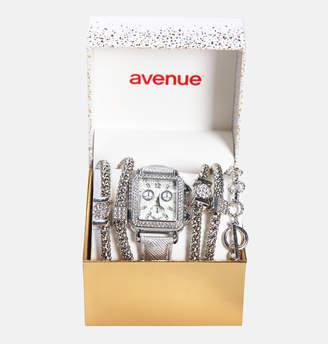 Avenue Silver Square Watch with Bracelet Set