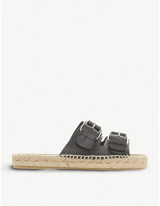 Dune Black Luso double-buckled leather espadrille sliders
