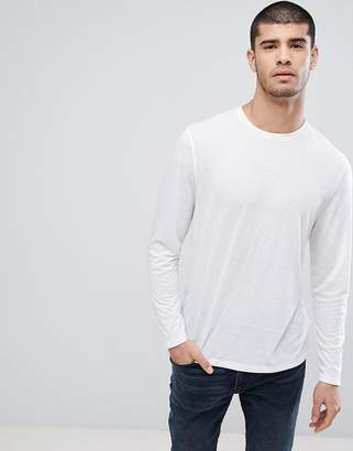 Asos Design Long Sleeve T-Shirt In Linen Mix In White