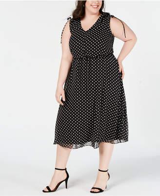 Jessica Howard Plus Size Polka-Dot Midi Dress