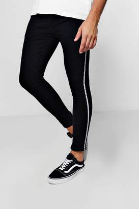 boohoo Super Skinny Fit Jeans With Taped Side