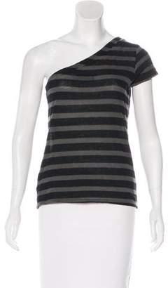 RtA Denim Stripe Print One-Shoulder Top