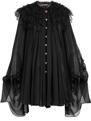 Dolce & Gabbana Ruffled-lace chiffon dress