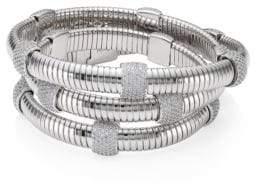 Adriana Orsini Rhodium-Plated Pavé Station Wrap Bracelet - Silver