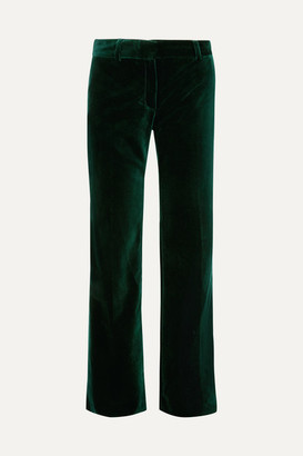 Bella Freud 1976 Cotton-velvet Flared Pants - Green