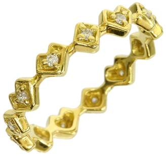 Ahkah 18K Yellow Gold 0.11 Ct Diamond Heart & Rhombus Ring Size 5