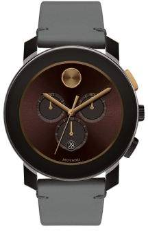 Movado Bold Bold Men's Metals Stainless Steel and Leather Strap Watch
