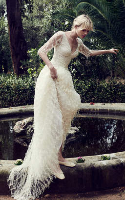 Costarellos Bridal Pearl Embroided Twig Tulle Gown