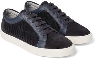 Brunello Cucinelli Leather-Trimmed Suede and Corduroy Sneakers - Men - Navy