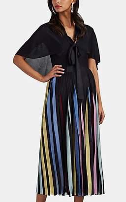 Valentino Women's Rainbow-Pleated Knit Midi-Dress - Black