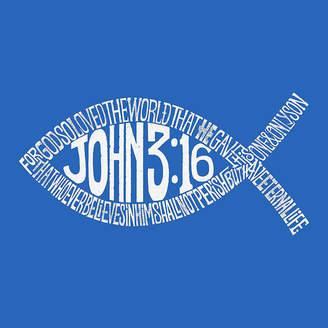LOS ANGELES POP ART Los Angeles Pop Art Men's Big & Tall Premium Blend Word Art T-Shirt - John 3:16 Fish Symbol