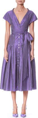 Carolina Herrera Short-Sleeve V-Neck Button-Front Dotted Belted Cocktail Dress