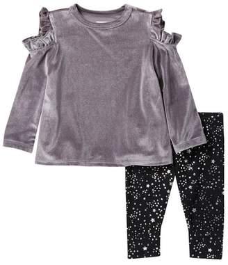 BCBGirls Velour Cold Shoulder Top & Printed Leggings Set (Baby Girls)