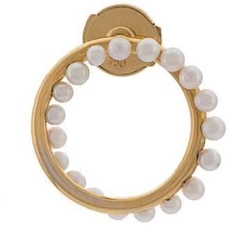 Leon Yvonne 18kt gold circular pearl earring