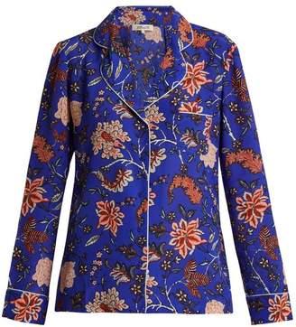 Diane von Furstenberg Floral Print Silk Crepe De Chine Pyjama Shirt - Womens - Blue