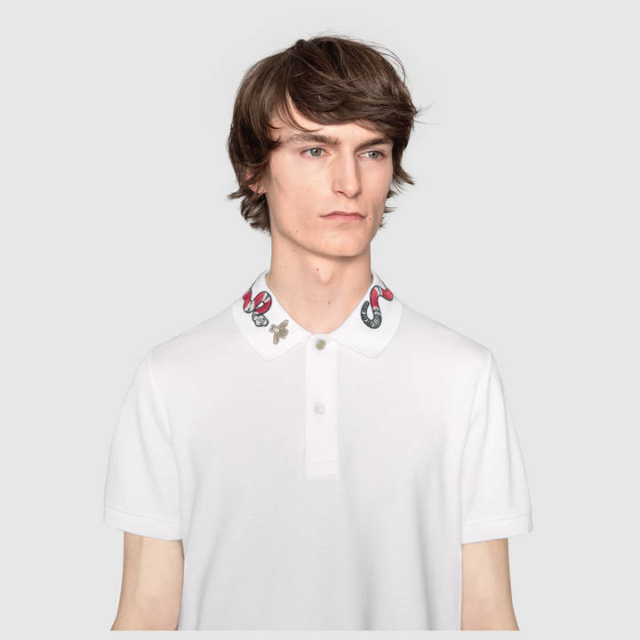 Cotton polo with Kingsnake embroidery 9