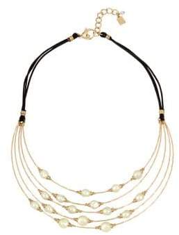 Robert Lee Morris Soho Faux Pearl, Crystal and Leather Multi-Row Wire Frontal Necklace
