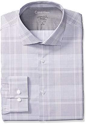 Calvin Klein Men's Dress Shirts Xtreme Slim Fit Thermal Stretch Plaid