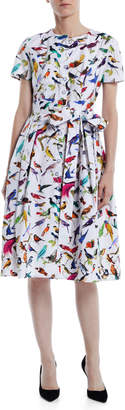 Carolina Herrera Short-Sleeve Bird-Print Cotton Knee-Length Shirtdress