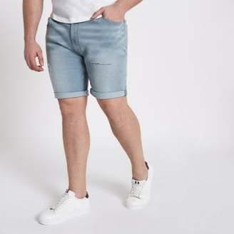 River Island Mens Big and Tall light blue ripped denim shorts