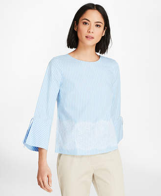 Brooks Brothers Lace-Trimmed Striped Cotton Poplin Bell-Sleeve Blouse