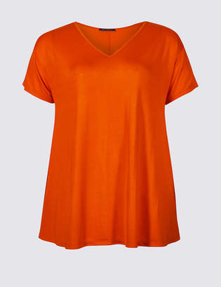 M&S Collection CURVE V-Neck Short Sleeve T-Shirt