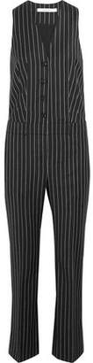 Givenchy Straight-Leg Jumpsuit In Black And White Striped Wool-Jacquard