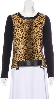 Milly Animal Print Leather-Accented Jacket