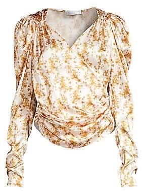 Caroline Constas Women's Estee Puff Sleeve Printed Blouse